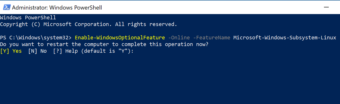 Enable Windows Subsystem for Linux (WSL) via PowerShell in Windows 10