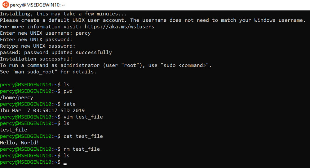 First bash commands on Ubuntu 18.04 in WSL on Windows 10