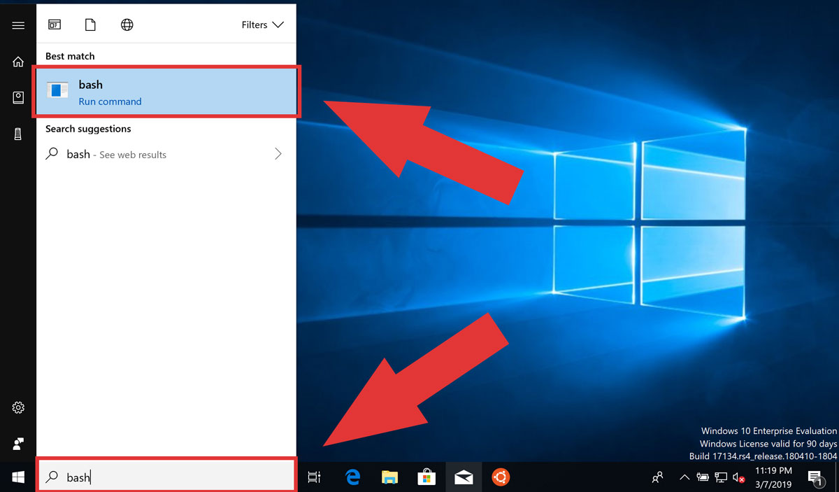 Launch Bash.exe for WSL from the start menu/Cortana in Windows 10